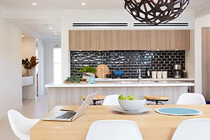 kitchen with ducted reverse cycle