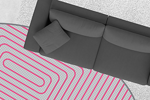 couch, carpet and hydronic floor heating coils