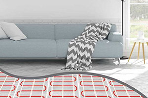 lounge room cross section showing electric floor heating coils