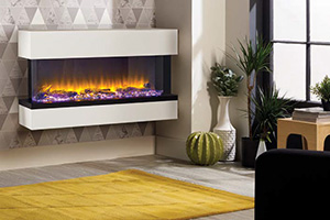 electric fire in modern lounge room