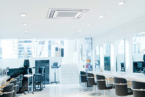 hair salon interior with cassette air conditioning