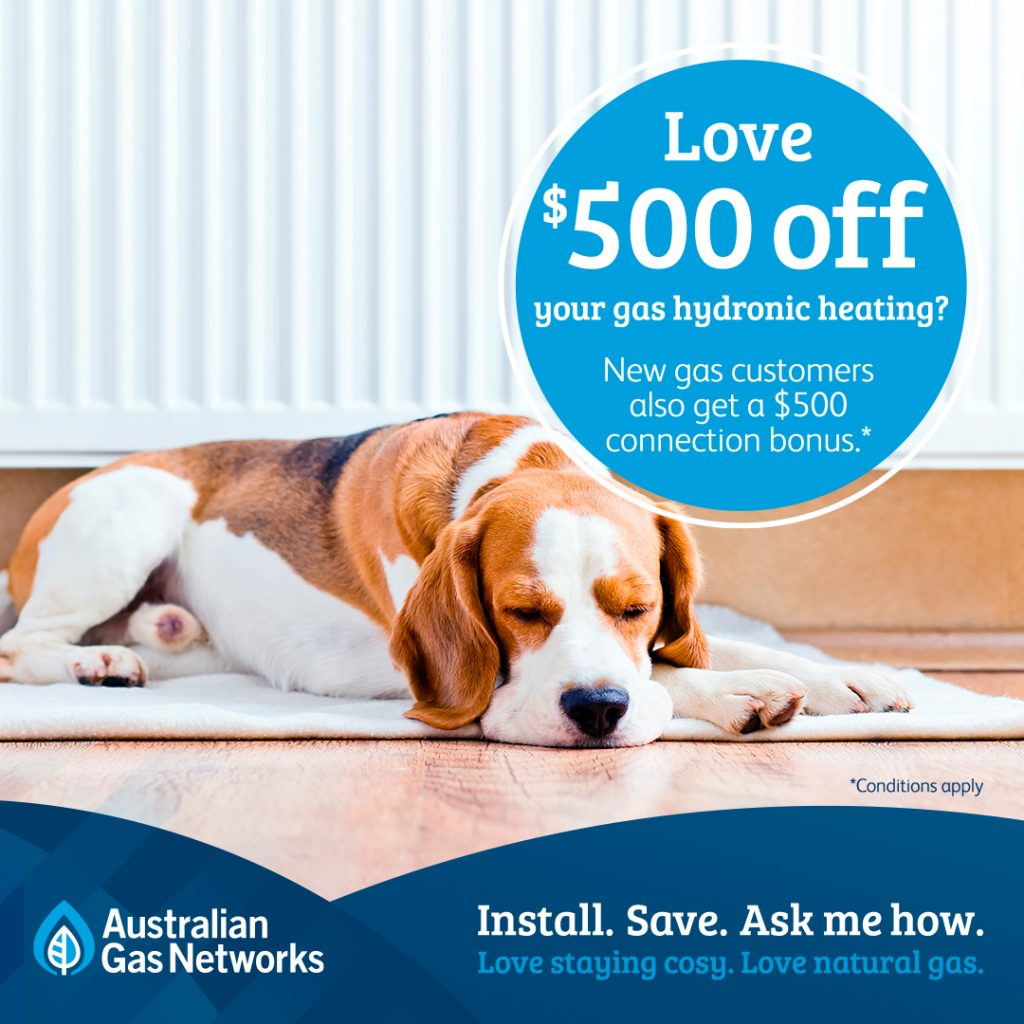 500 dollars off gas heating promo banner