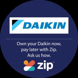 daikin and zip logos in a navy circle