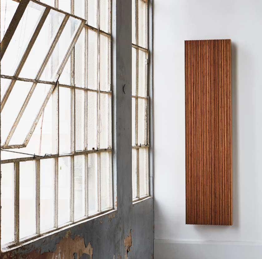 Timber bamboo look radiator on wall