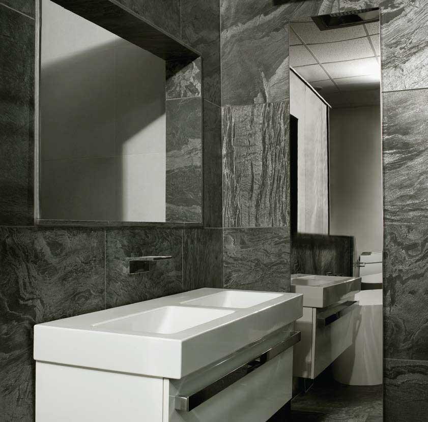 Dark marble tiled bathroom