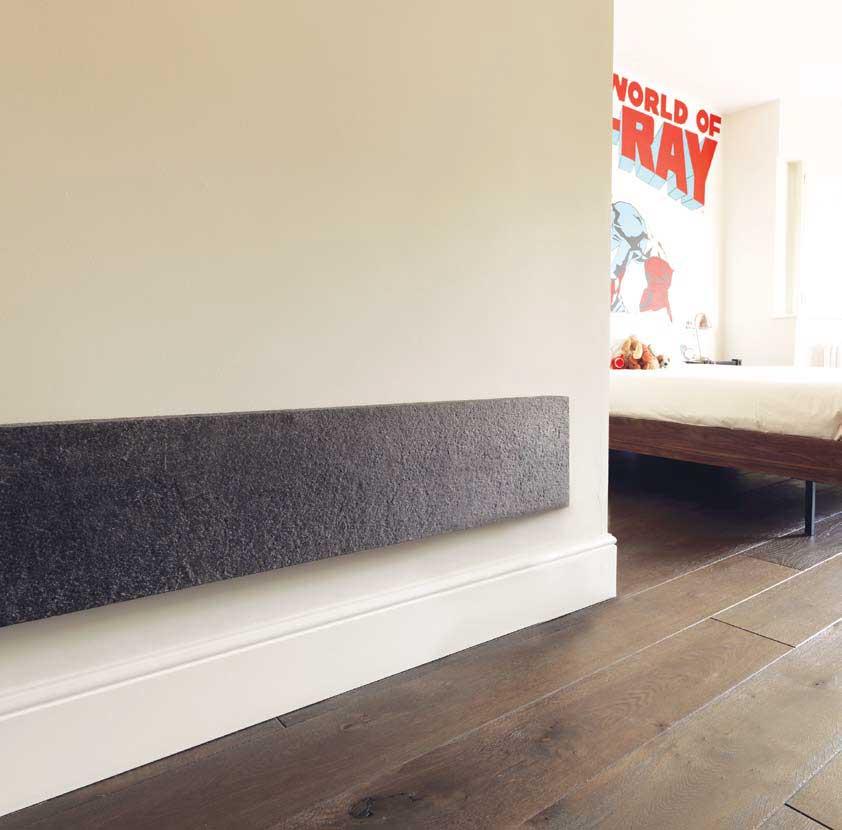 Concrete look radiator on wall