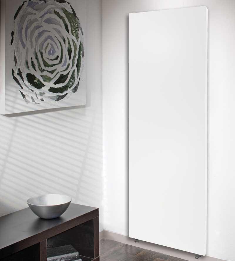Sleek, smooth and white radiator on wall