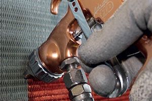 Blygold corrosion protection being applied to air conditioner coils