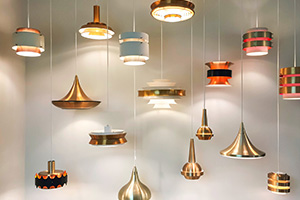 eclectic and funky arrangement of pendant lights