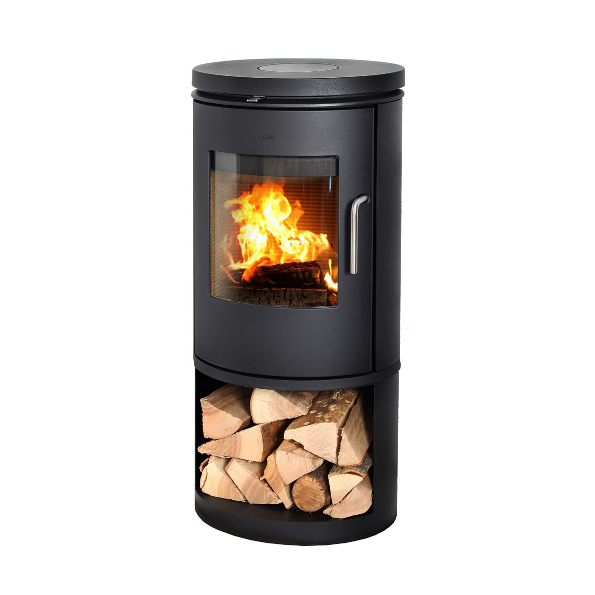Morso 6143 wood heater with door and wood storage