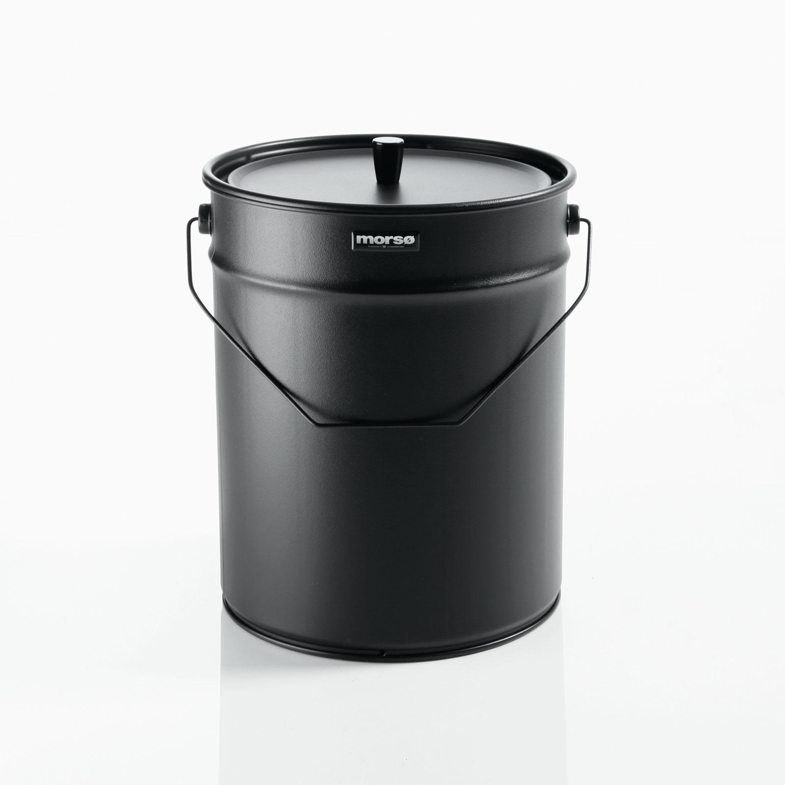 Morso ash storage bucket with handle and lid on