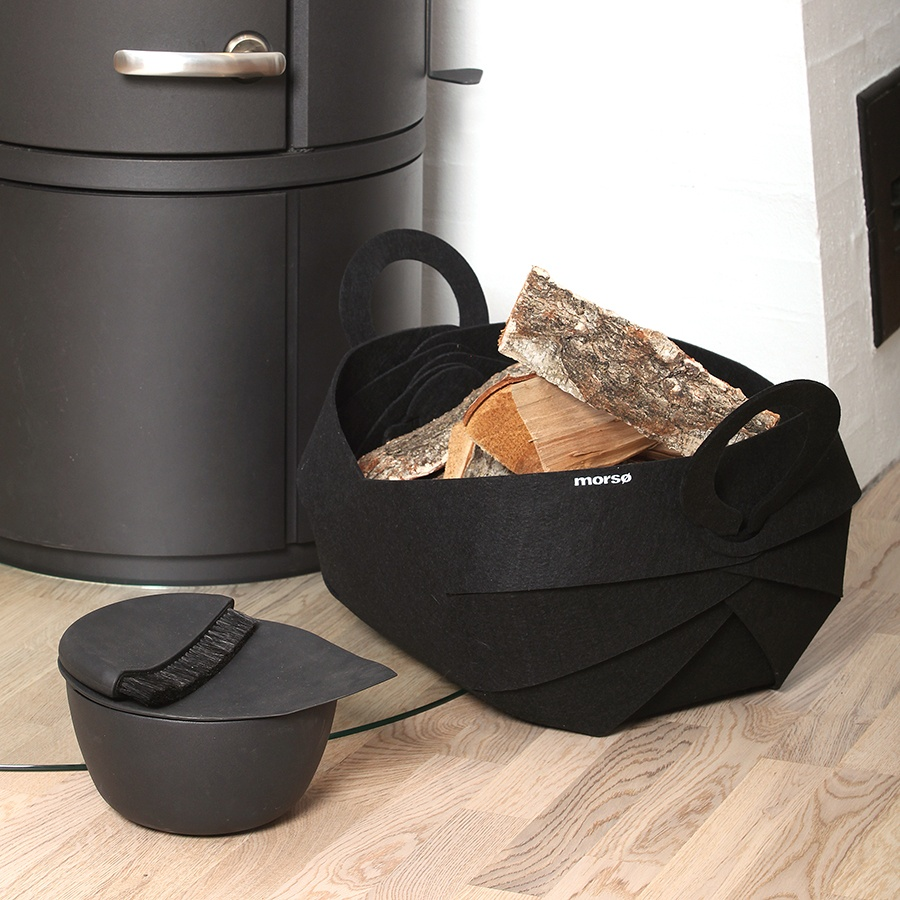 Morso Curva felt basket for storing wood next to the wood heater