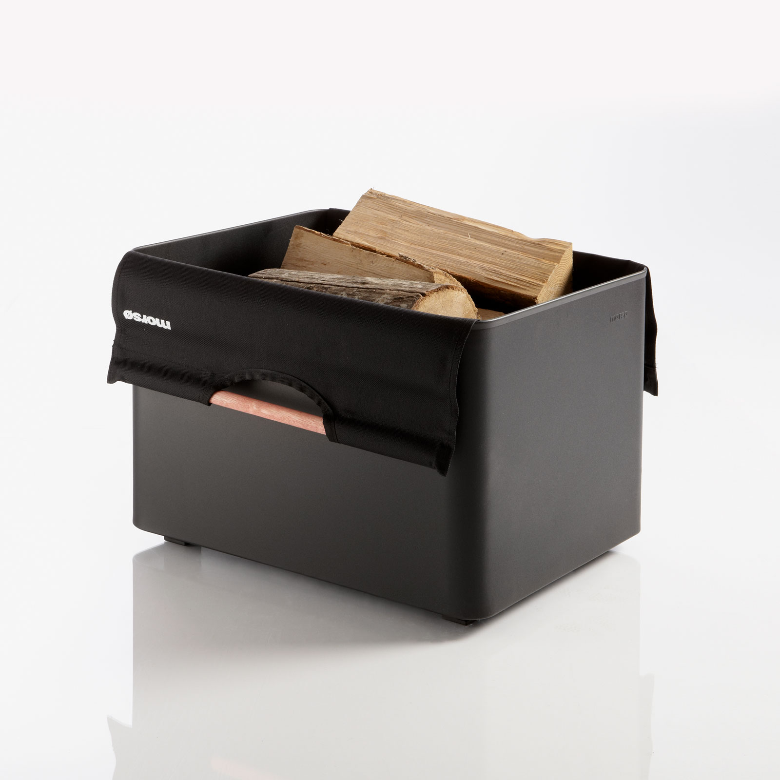 Morso black firewood box with canvas carrier