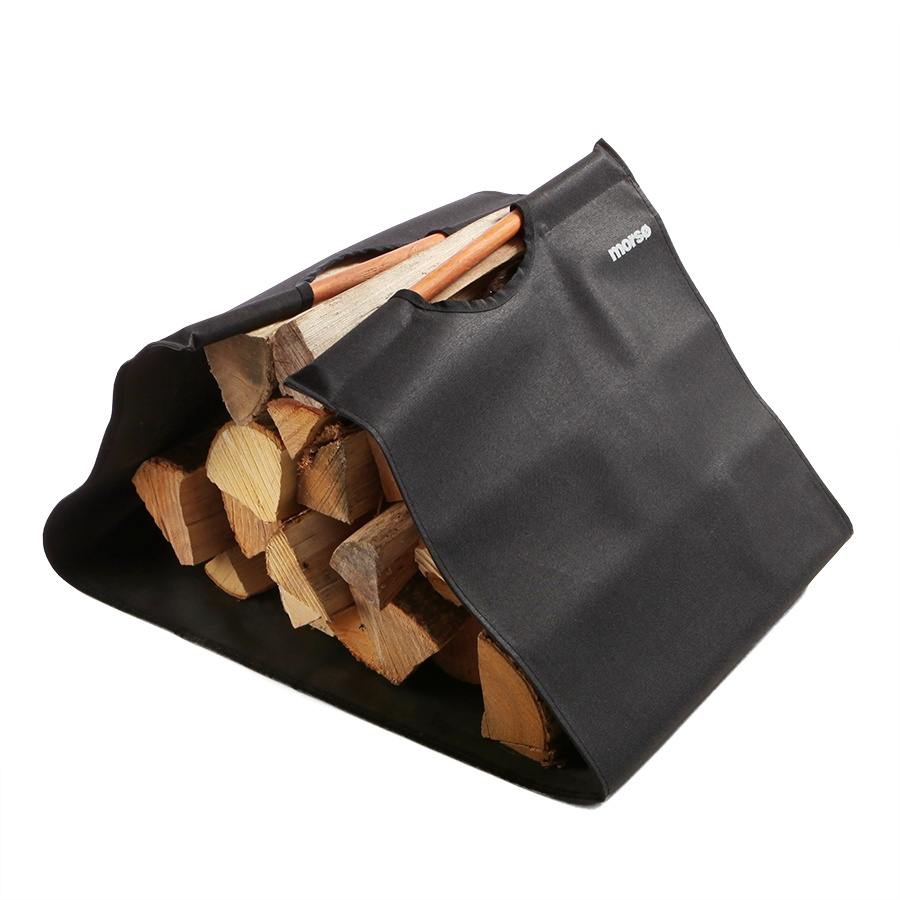 Morso canvas log carrier with wood inside