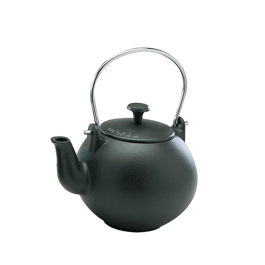 Black cast iron kettle humidifier with stainless steel handle