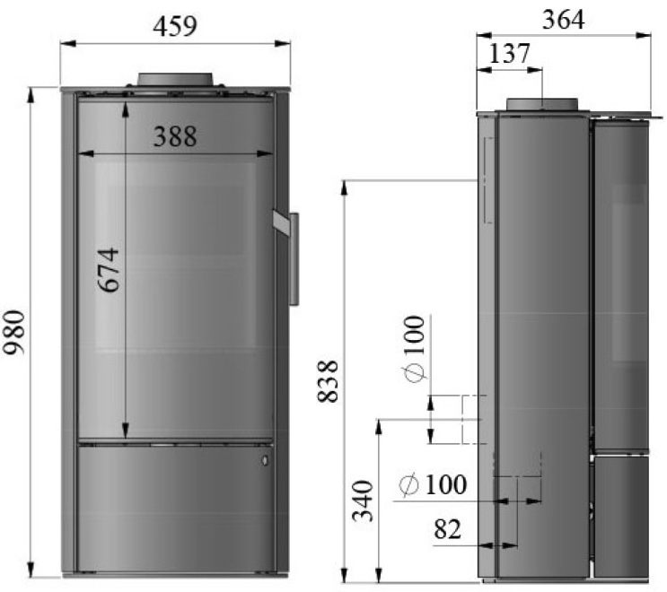 Morso 4143 wood heater dimensions