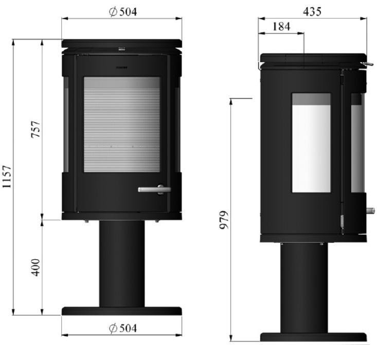 Morso 7948 wood heater dimensions