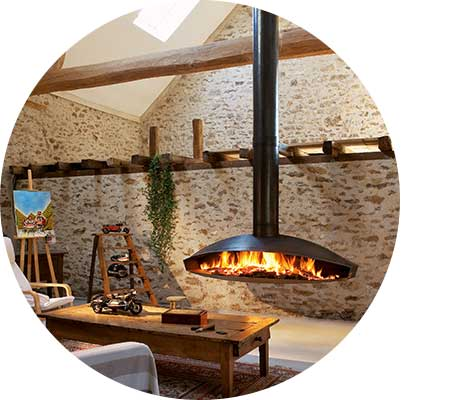 Large suspended wood heater in outdoor setting