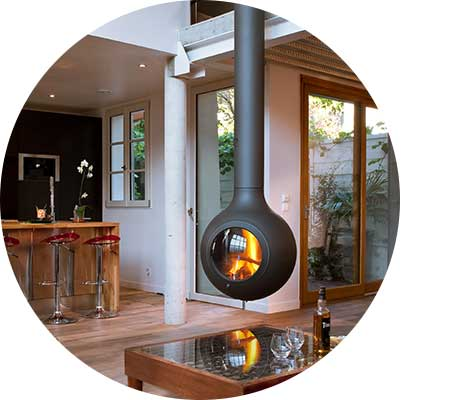 Stylish suspended wood heater with glass door