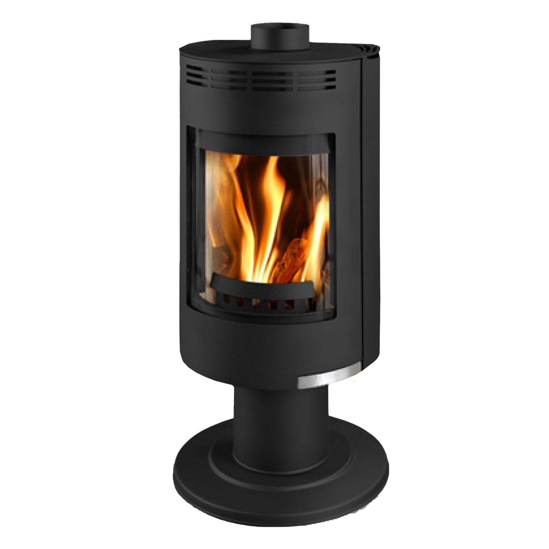 Euro Andorra Exclusive black freestanding wood heater with circular base
