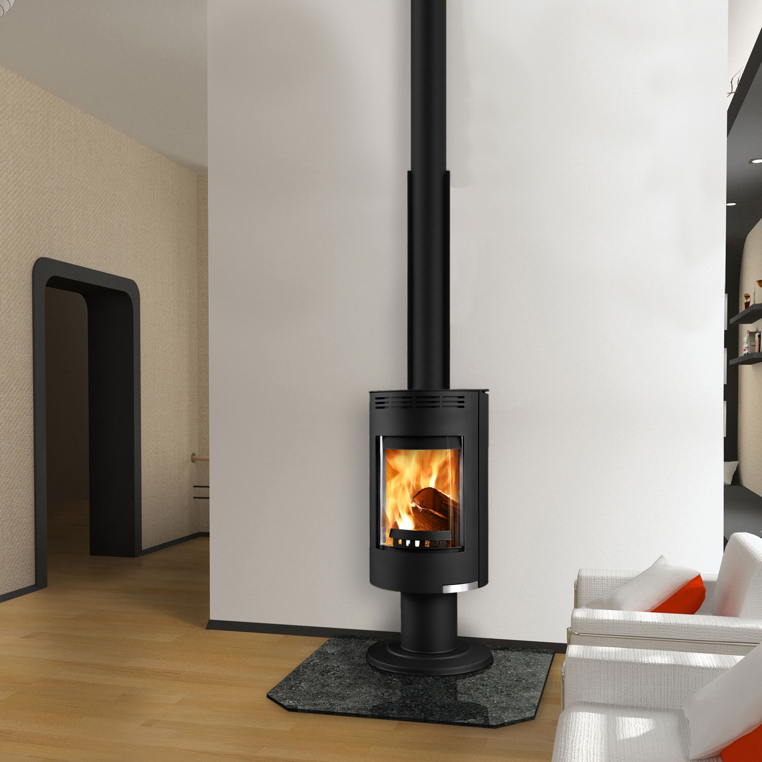 Euro Andorra Exclusive black freestanding wood heater with long flue in living room