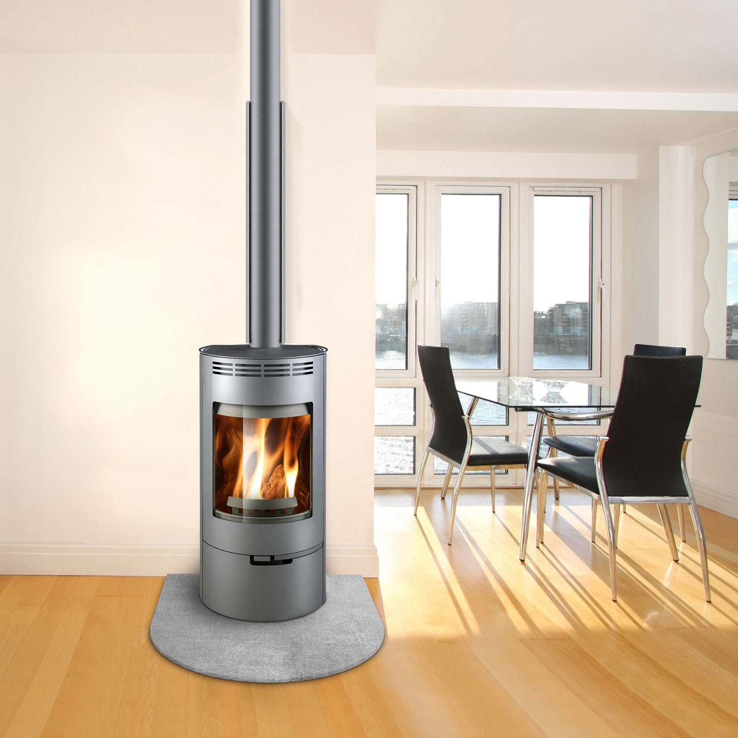 Silver wood heater with door and flue