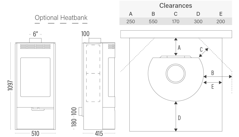Euro Andorra Standard dimensions, clearances with optional heatbank