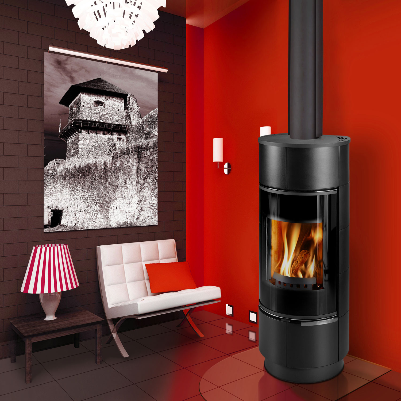 Euro Atika black freestanding wood fire