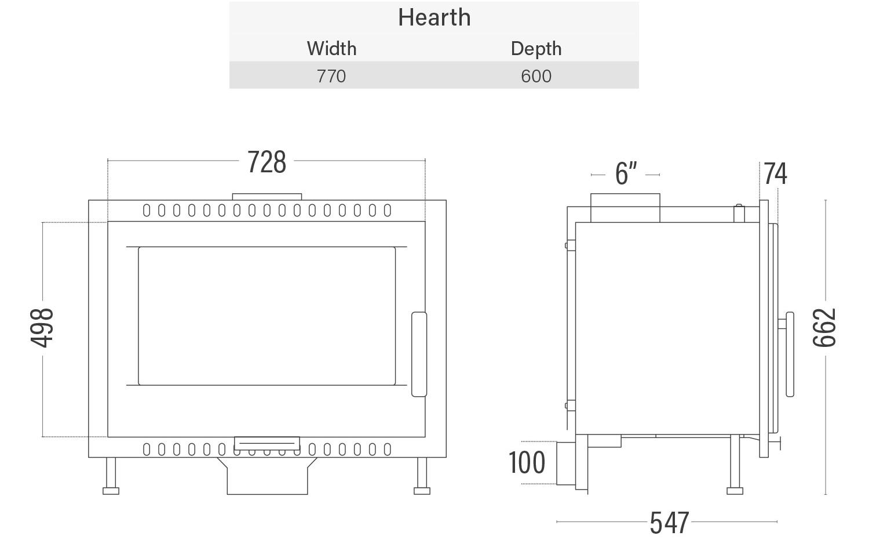 Euro Buller wood heater dimensions