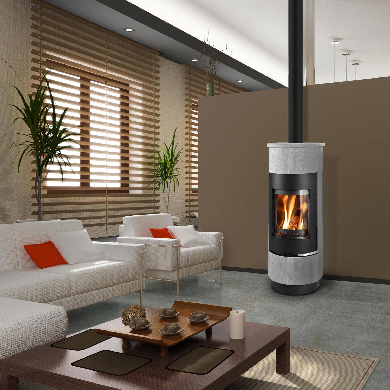 Euro Cadiz serpentino light grey and black wood heater in stylish living room