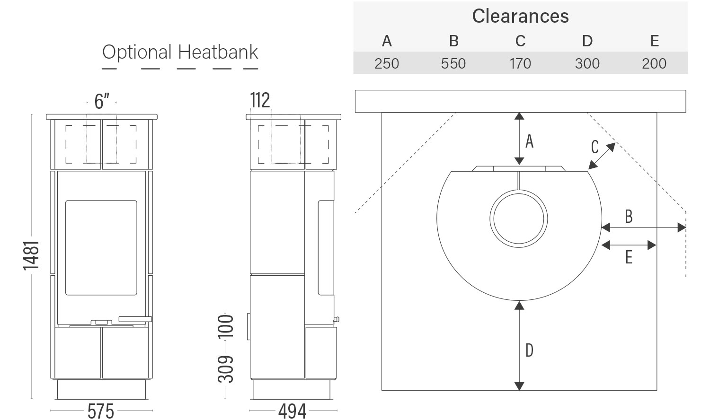 Euro Cadiz wood heater dimensions, clearances with optional heatbank