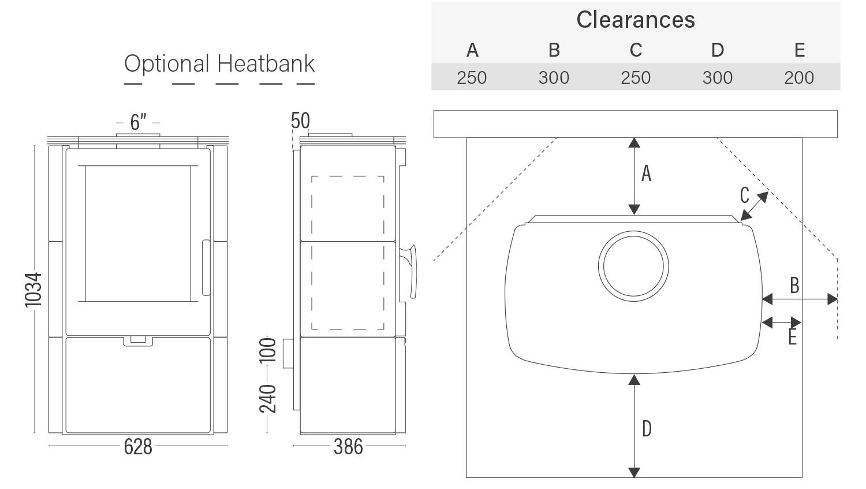 Euro Falun Ceramic dimensions and clearances with optional heatbank
