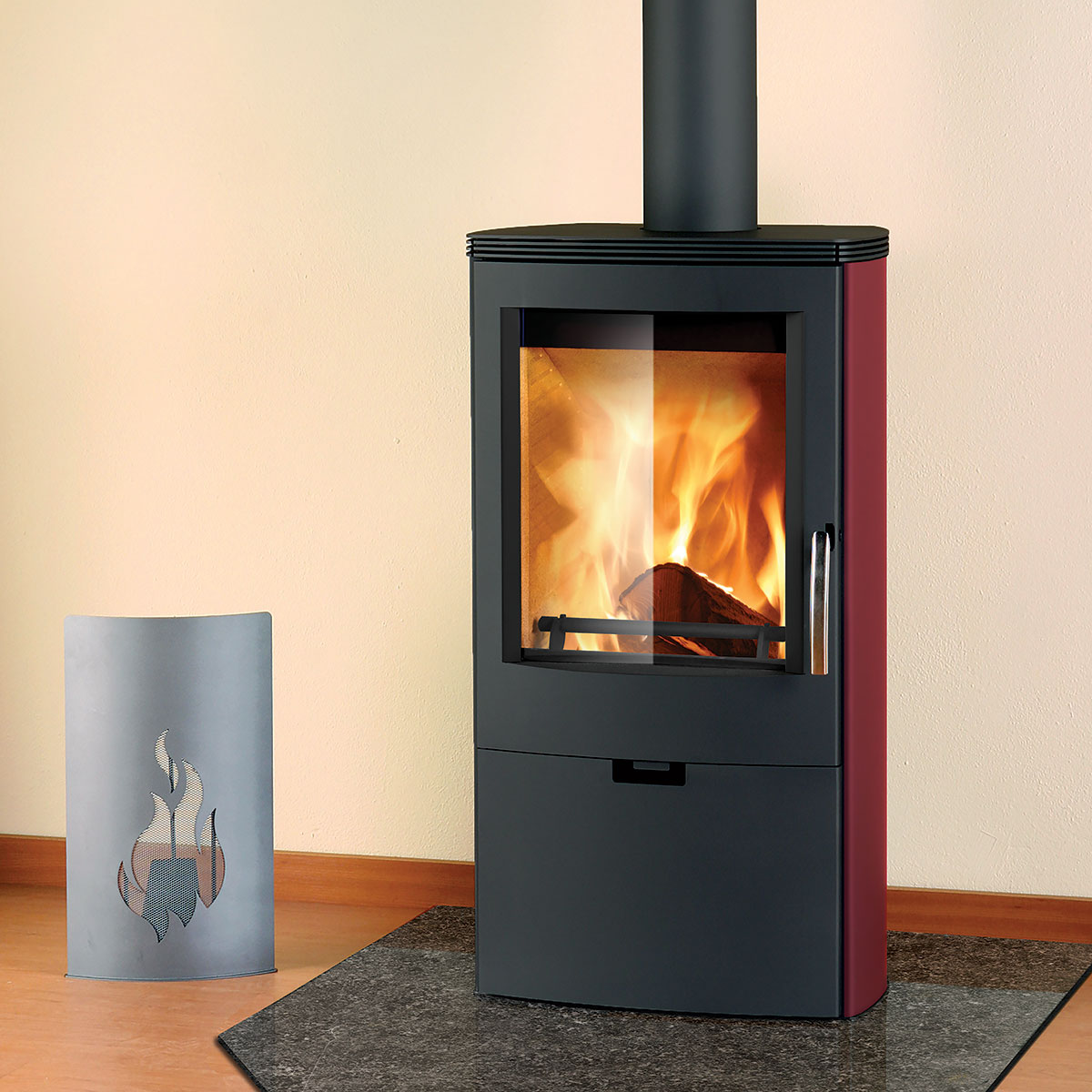 Euro Falun red and black wood heater