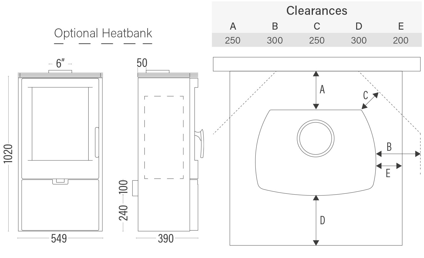 Euro Falun wood heater dimensions and clearances with optional heatbank