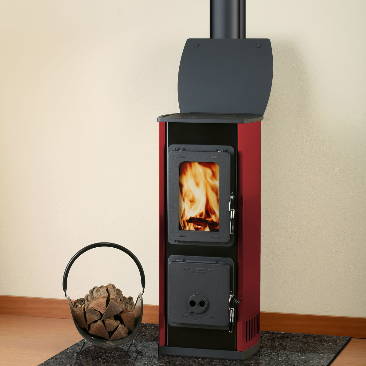 Euro Milano red and black freestanding wood heater