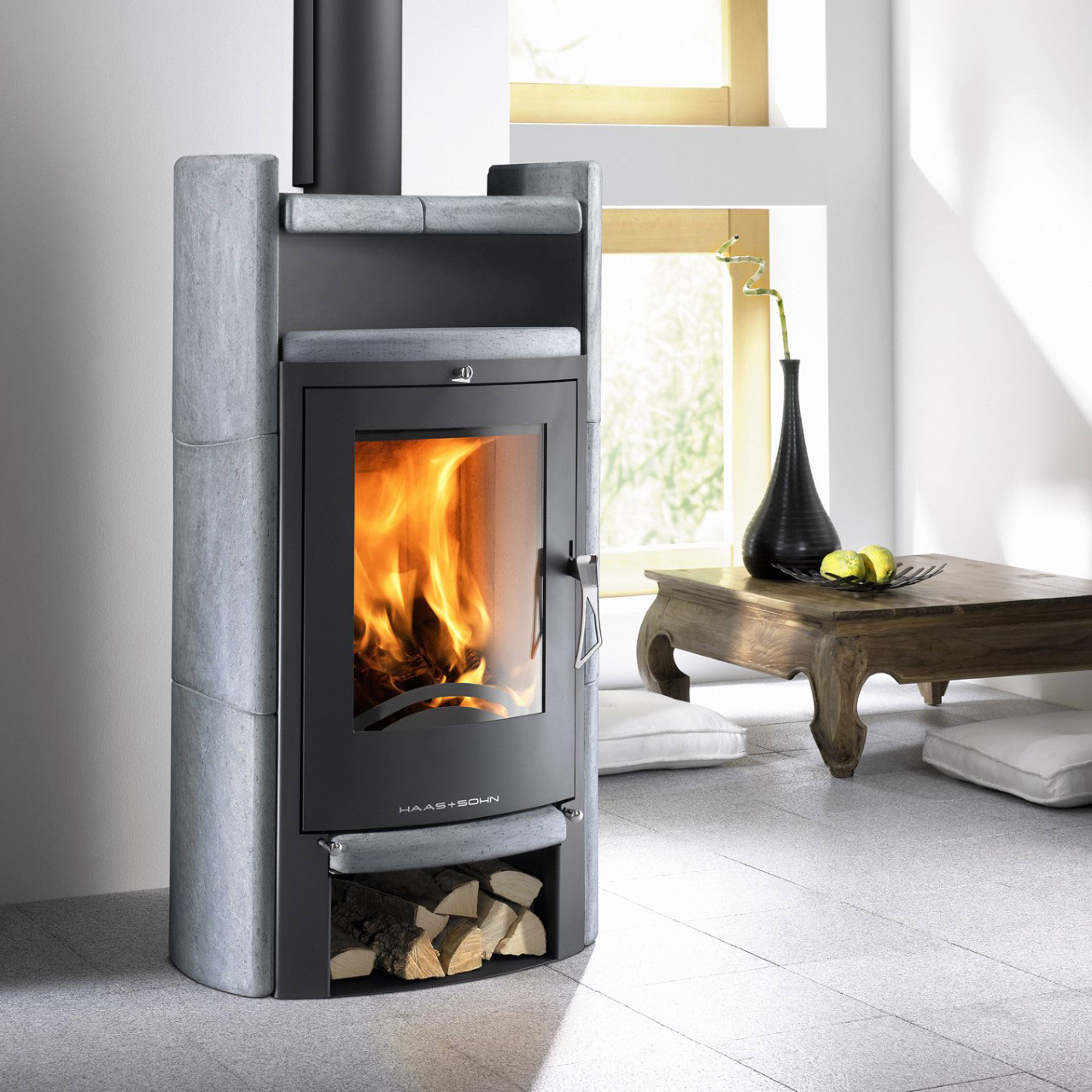 Euro Uppsala light grey wood heater with door and timber storage underneath