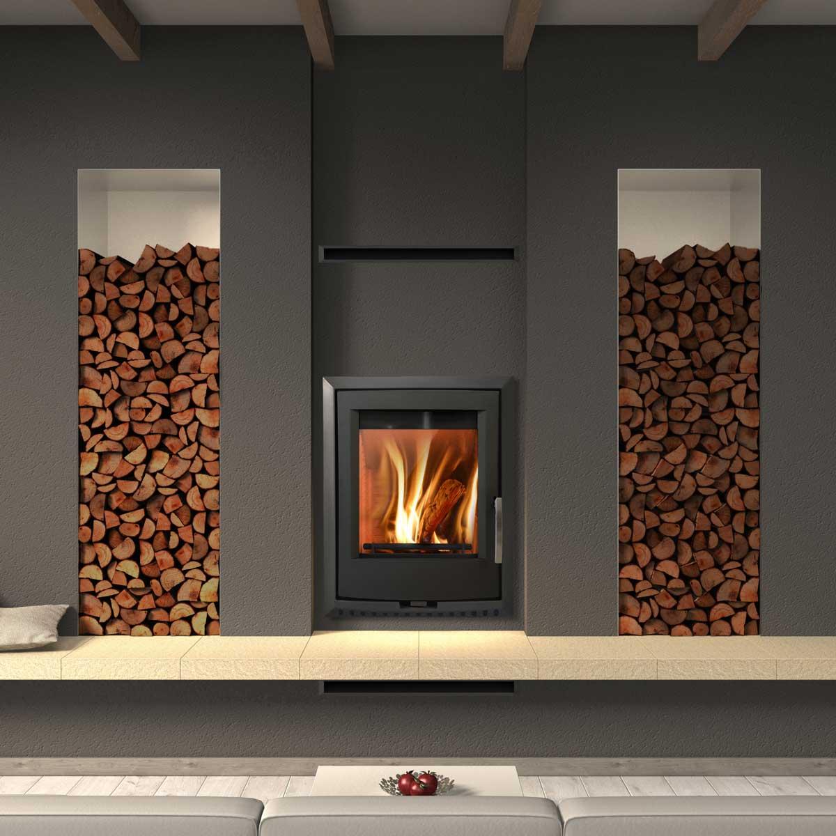 Euro Valencia insert wood fire in modern interior