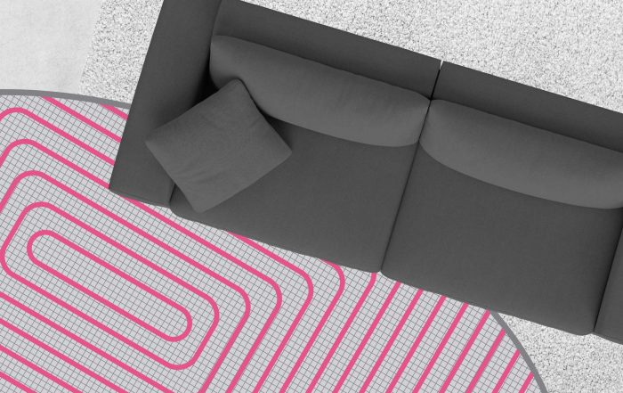 Image compilation of dark lounge suite, light grey carpet and pink hydronic heating coils