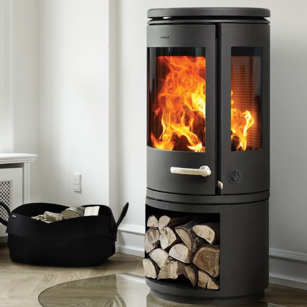 Morso 7943 freestanding wood heater with wood storage underneath