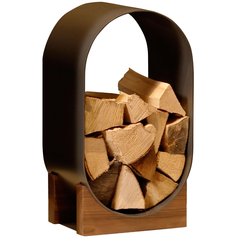 Bronze coloured oval log holder on timber base