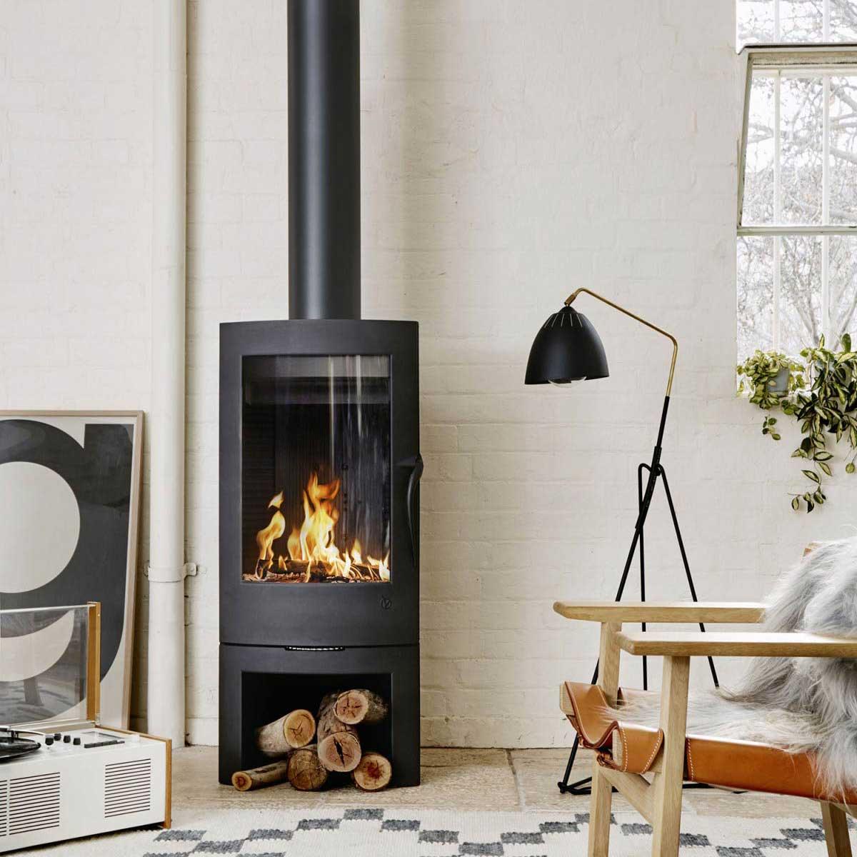 Invicta Argos wood heater in stylish living room