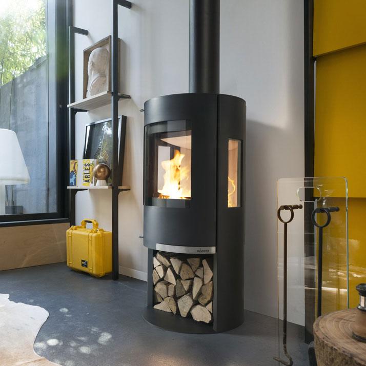 Invicta Onsen wood heater in funky yellow interior