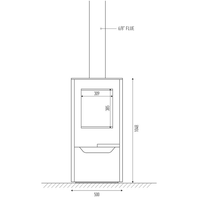 Invicta Onsen flue and firebox dimensions