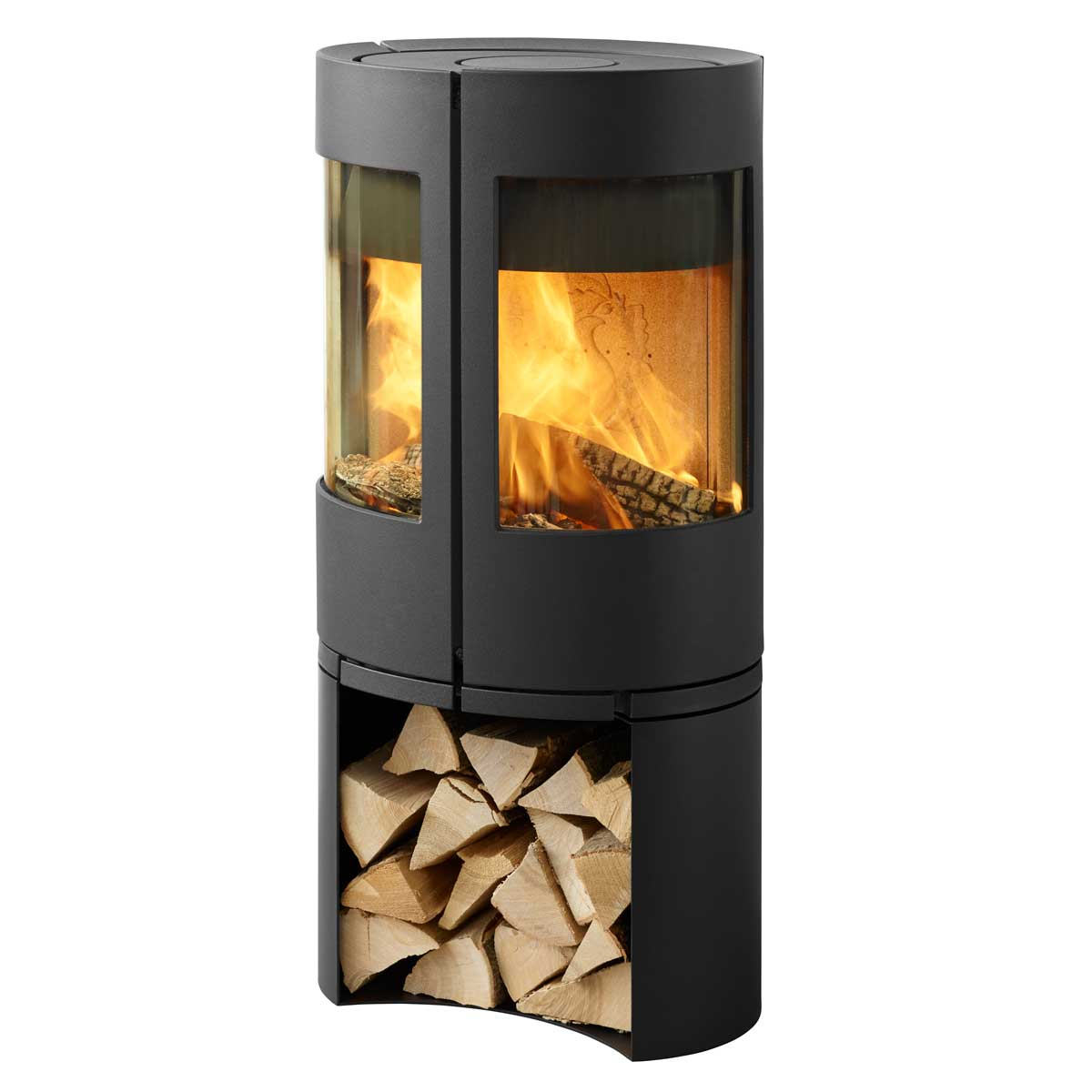 Morso 6643 freestanding wood fire with timber storage underneath