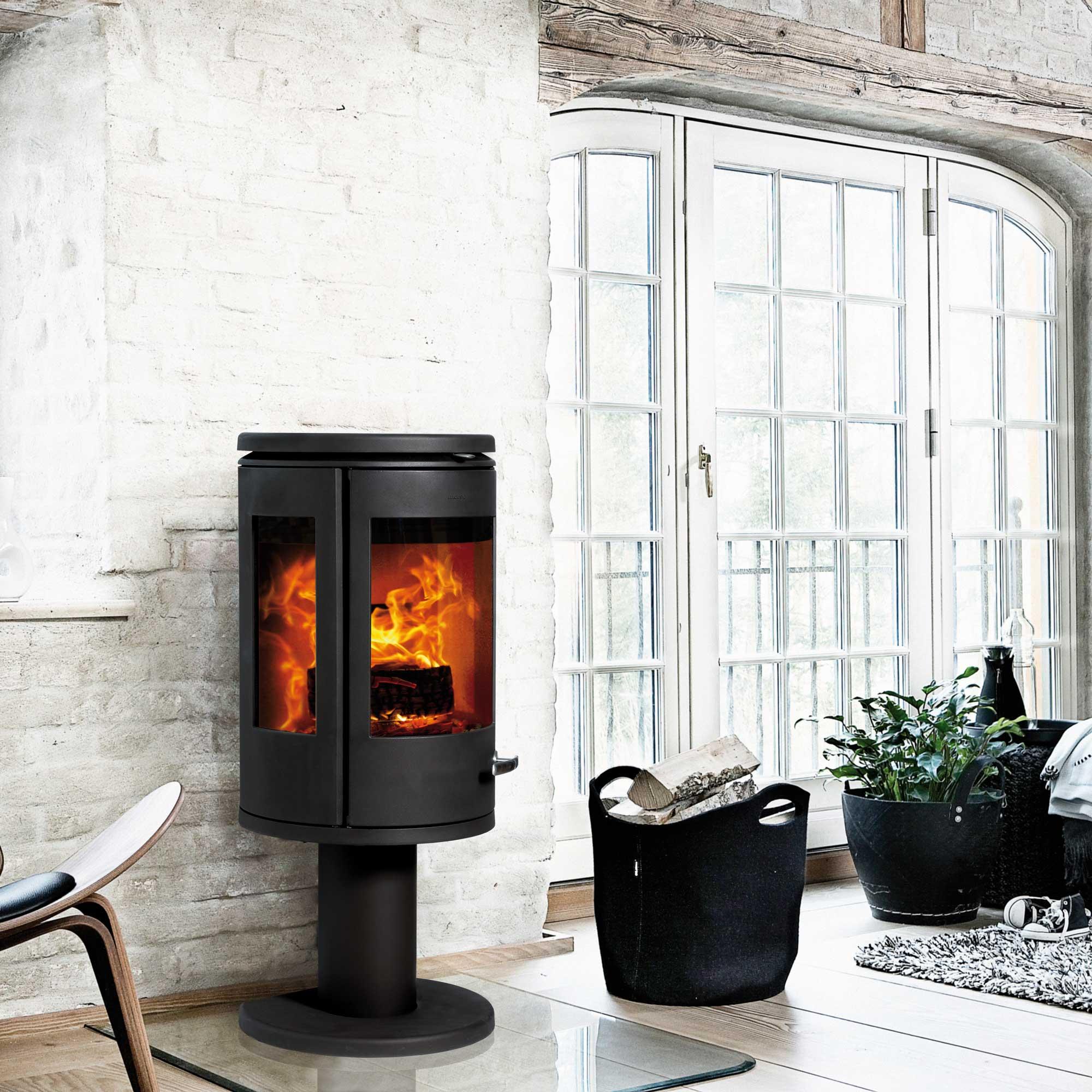 Morso 7948 wood heater in stunning white living room