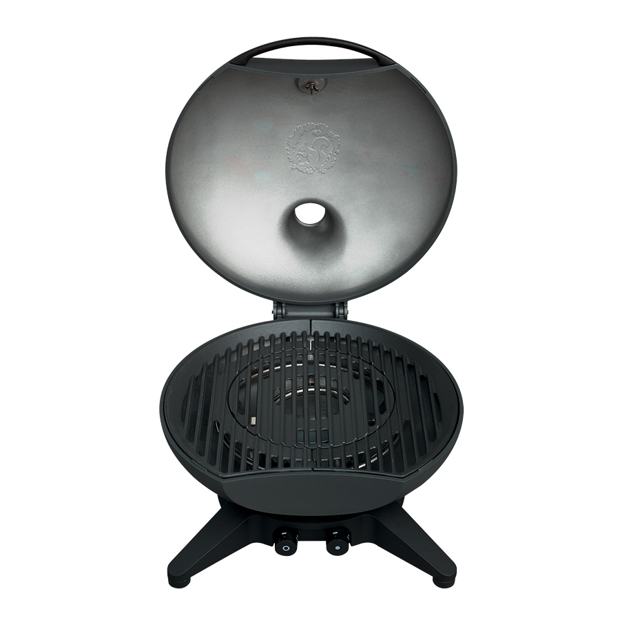 Morso gas barbecue with lid open