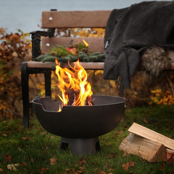 Morso Ignis fire pit alight in outdoor setting