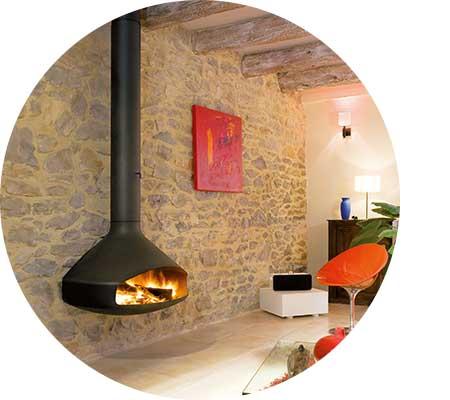 Stylish suspended wood heater