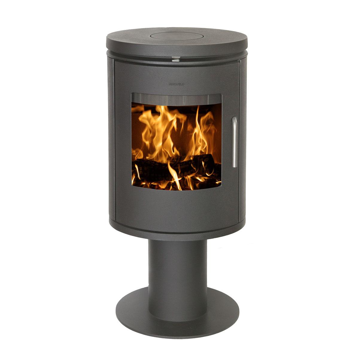 Morso 6148 freestanding wood heater with door on circular base