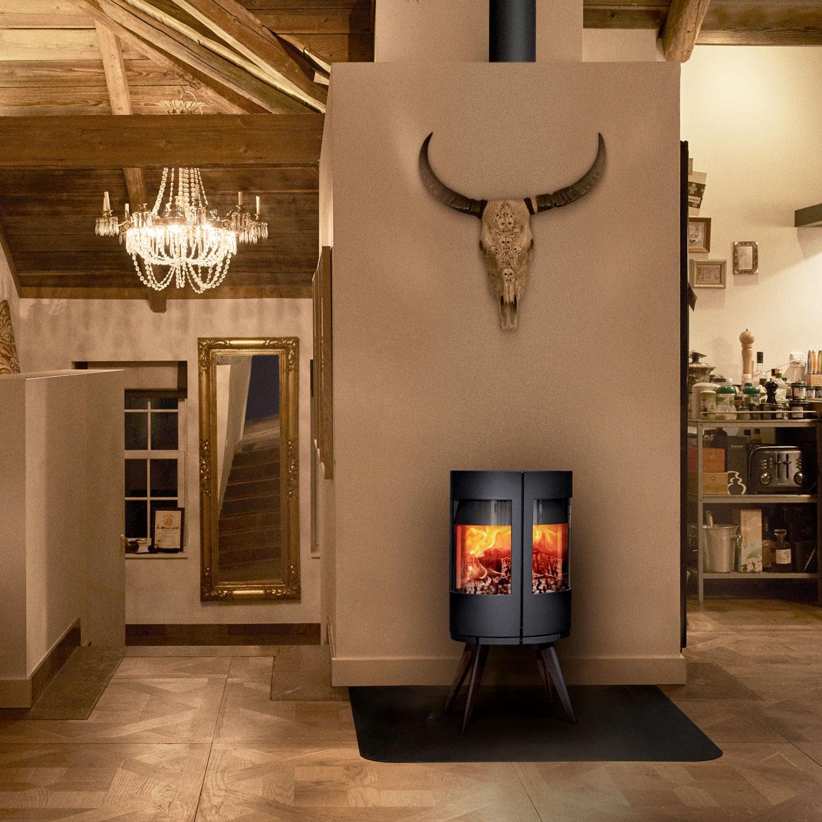 Morso 6612 freestanding wood heater on four timber legs
